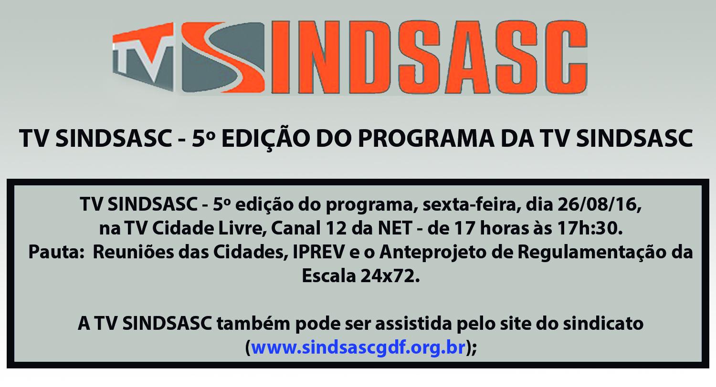 TV SINDSASC - 5º EDIÇÃO DO PROGRAMA DA TV SINDSASC