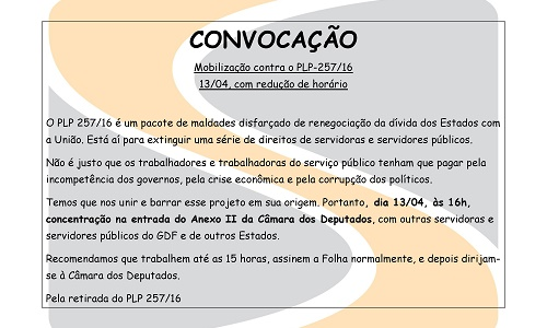 CONVOCAÇÃO - Mobilização contra o PLP 257/16 no dia 13/04