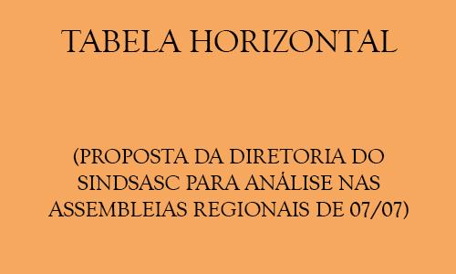 TABELA HORIZONTAL (PROPOSTA DA DIRETORIA DO SINDSASC PARA ANÁLISE NAS ASSEMBLEIAS REGIONAIS DE 07/07)