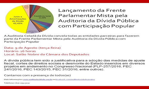 LANÇAMENTO DA FRENTE PARLAMENTAR MISTA  PELA AUDITORIA DA DÍVIDA PÚBLICA COM PARTICIPAÇÃO POPULAR