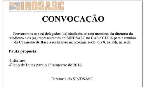 CONVOCAÇÃO - COMISSÃO DE BASE